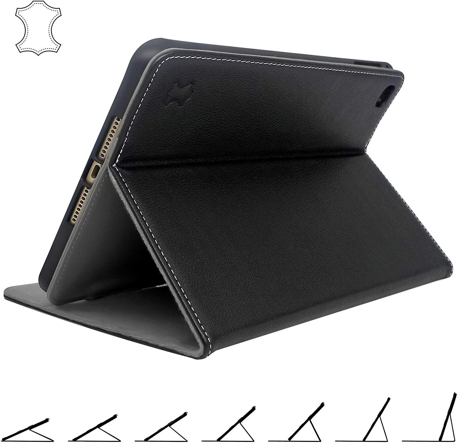 iPad Mini 5 Case 2019 Leather with Pencil Holder - Best Multi-Angle Stand for 5th Generation Apple Mini
