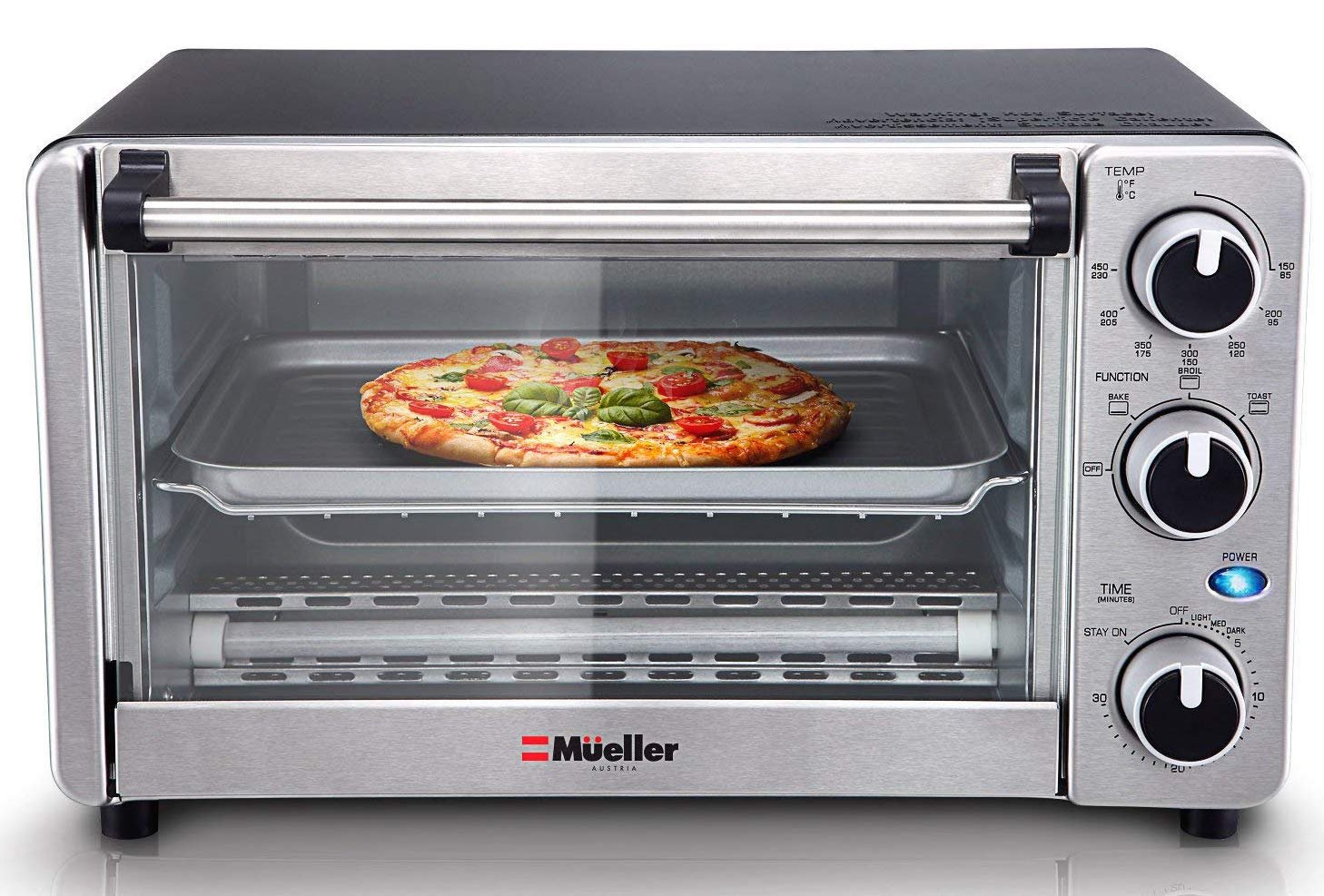 Toaster Oven 4 Slice, Multi-function Stainless Steel Counter-top Design with Timer - Toast - Bake - Broil Settings, Natural Convection - 1100 Watts of Power, Includes Baking Pan and Rack by Mueller Austria