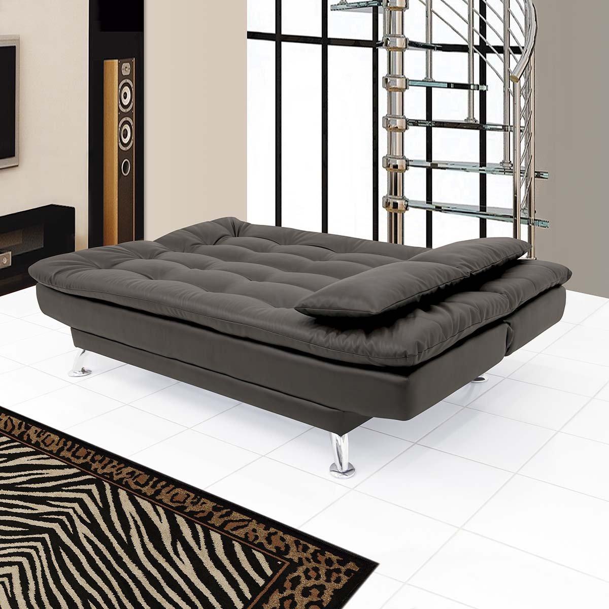 super soft three seater sofa cum bed leatherette black amazonin home u0026 kitchen
