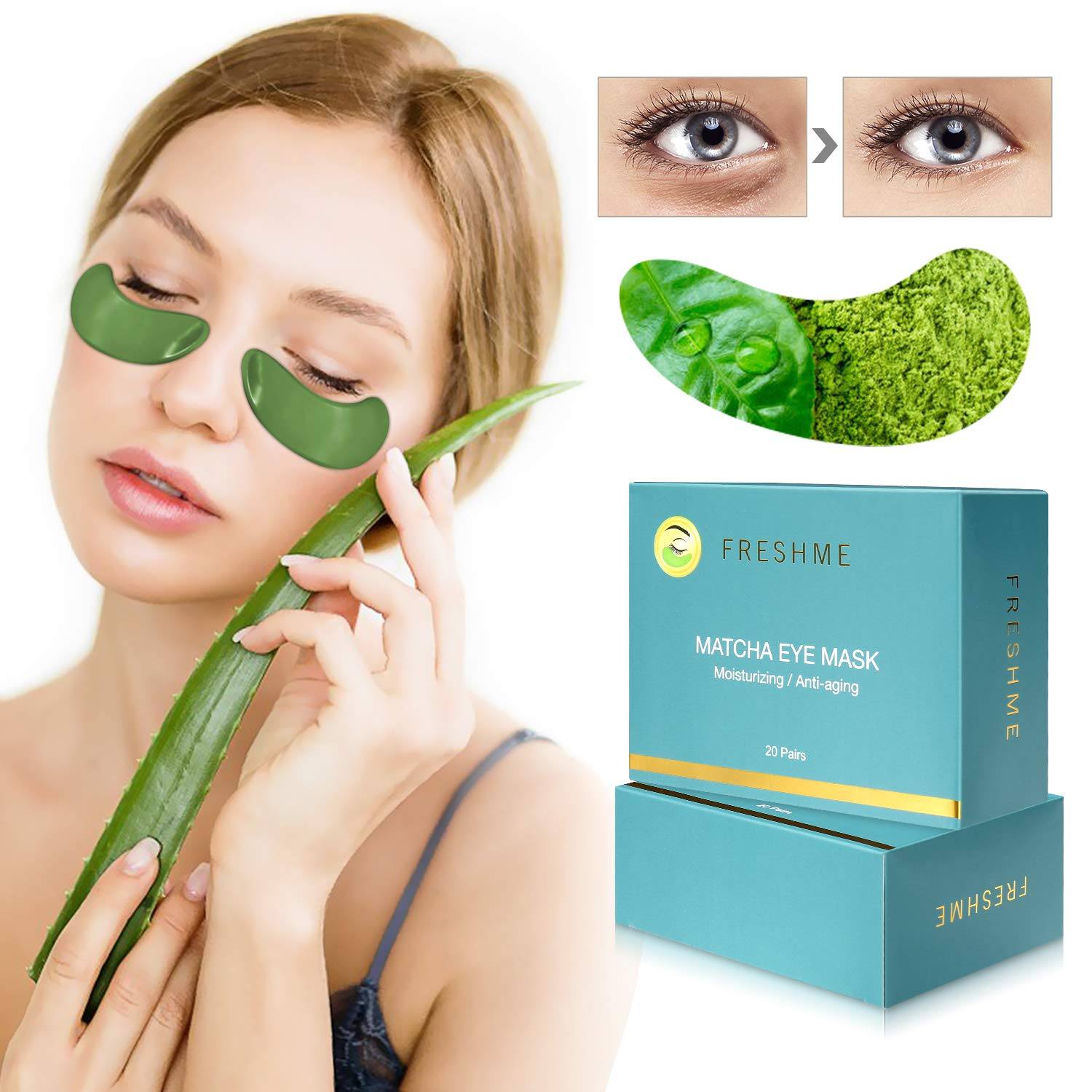 FRESHME Matcha Eye Mask - 20 Pairs Under Eye Patches Aloe Vera Extract Gel Masks for Anti Aging Reduce Puffiness Dark Circles Hyluronic Acid Deep Hydration Eye Pads Treatment Mask for Women and Men by FRESHME