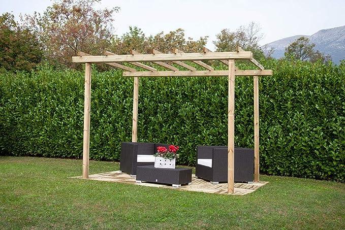 Losa Pérgola cenador 3 x 3 de pino impregnado cobertura de exteriores techo