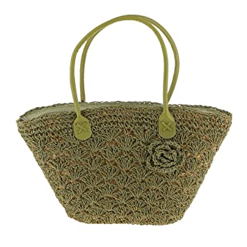 Buy Generic Trendy Magazine Style Woven Gold Line Shell Bag Crochet Knitted  Straw Bags - army green Online at Low Prices in India - Amazon.in 46c0e0e68fe6c