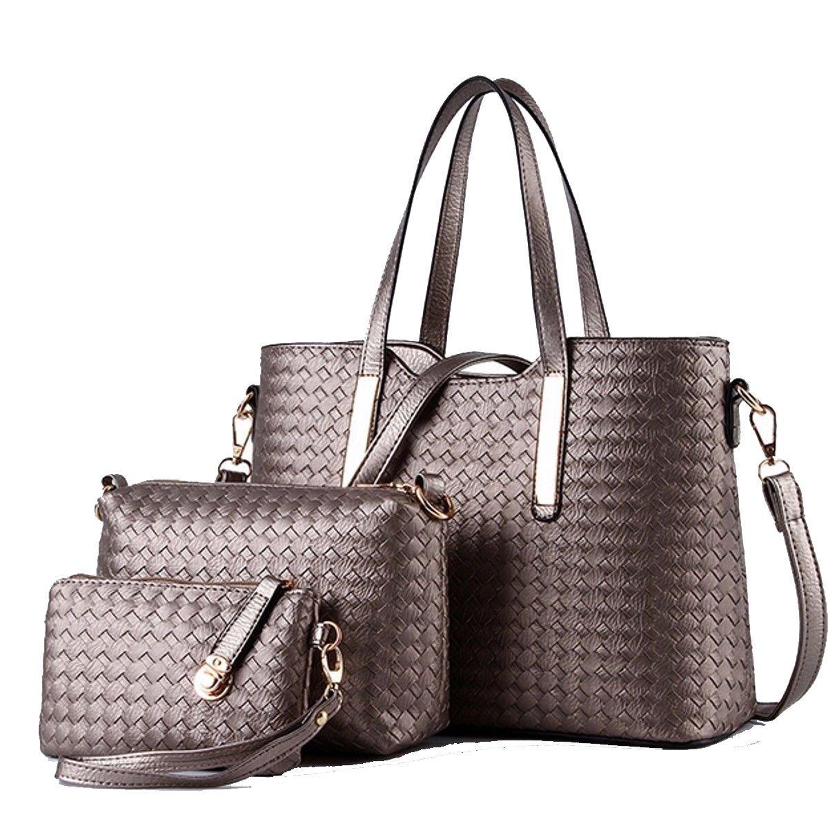 3PCS/SET Women PU Leather Satchel Handbag Shoulder Messenger Crossbody Bag Wallet (Black): Handbags: Amazon.com