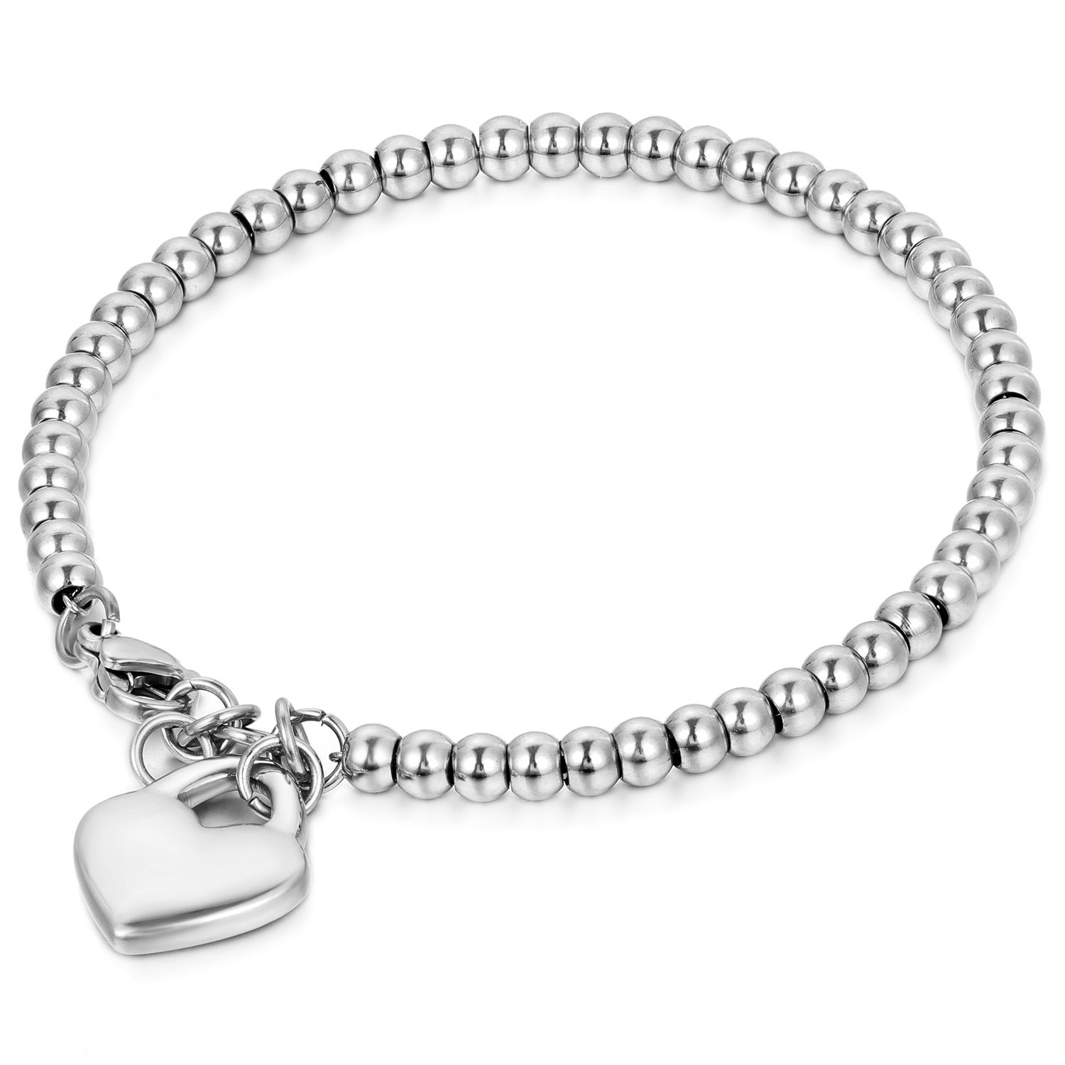 Cupimatch Womens Stainless Steel Elastic Love Heart Charm Beaded Ball Chain Bracelet Mother's Day Gift C003024