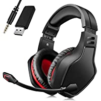 Wireless Headset with Microphone, BEAVIIOO 2.4G Gaming Headset for PC/PS4/PS5/-50 Hours, Headphones Gamer with USB Port…