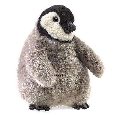 "Folkmanis Baby Emperor Penguin Hand Puppet, Gray, Black, White, 8"": Toys & Games"