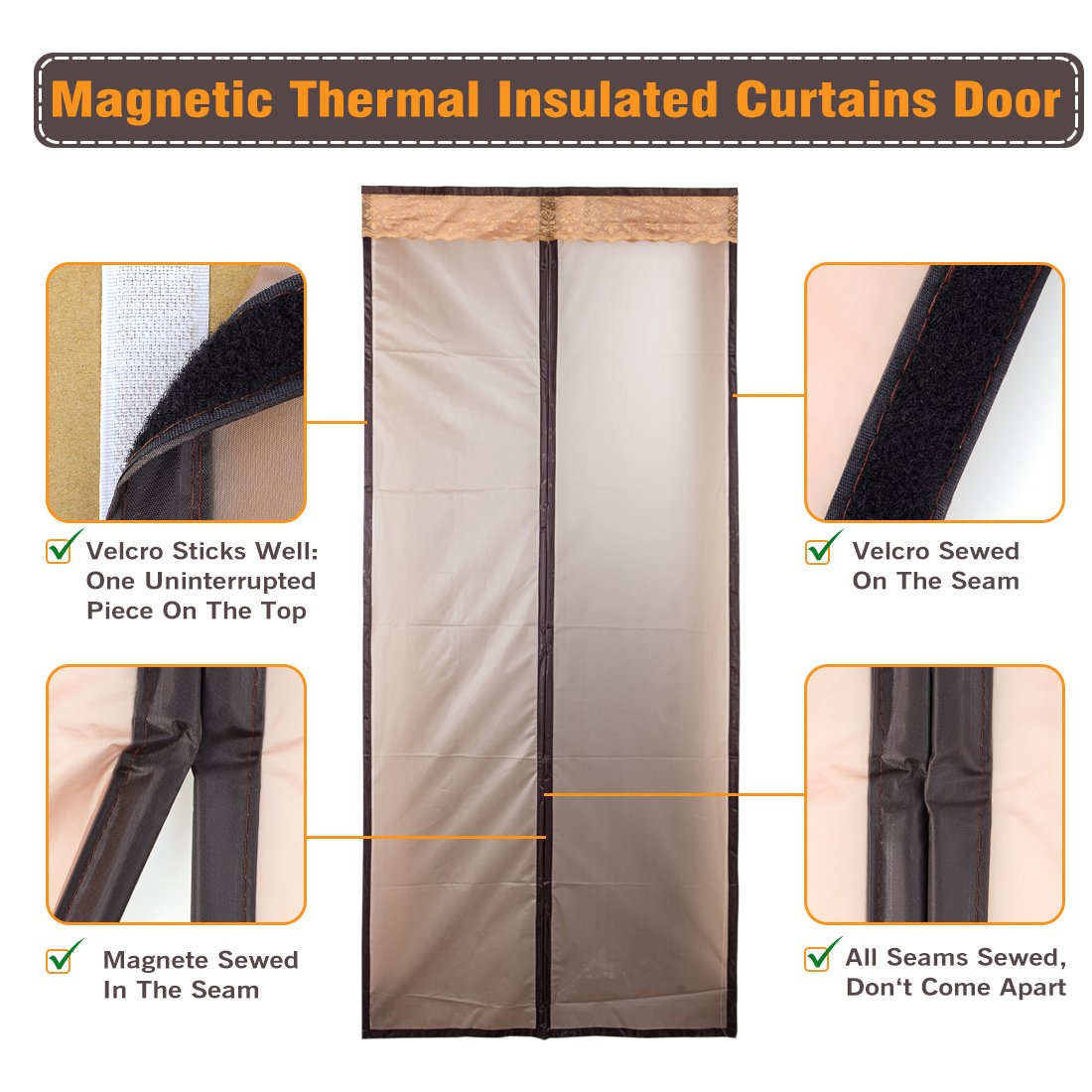 Magnetic thermal insulated door curtain enjoy your cool summer and magnetic thermal insulated door curtain enjoy your cool summer and warm winter with saving you money door curtain auto closer fits doors up to 46 x 82 max rubansaba