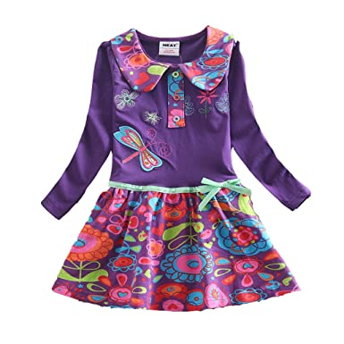 baby stores near me NEAT Girl's cotton embroidery one-piece dress long sleeve,2T,PURPLE
