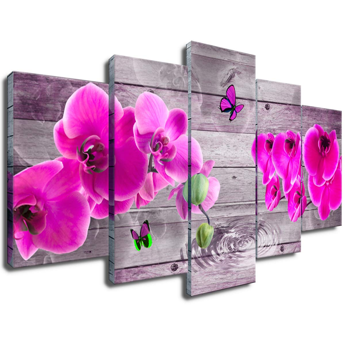 Large Flower Canvas Painting Modern Orchid Floral Print Wall Decor Art 5piece Home Decoration Easy Hanging 30x60 Amazon In Home Kitchen