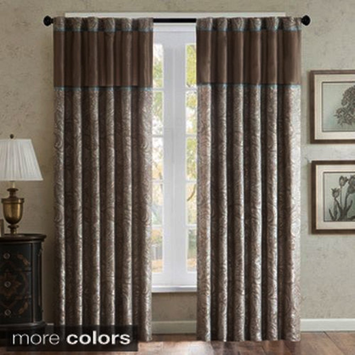 Madison Park Aubrey Rod Pocket Curtain Panel Pair, Brown