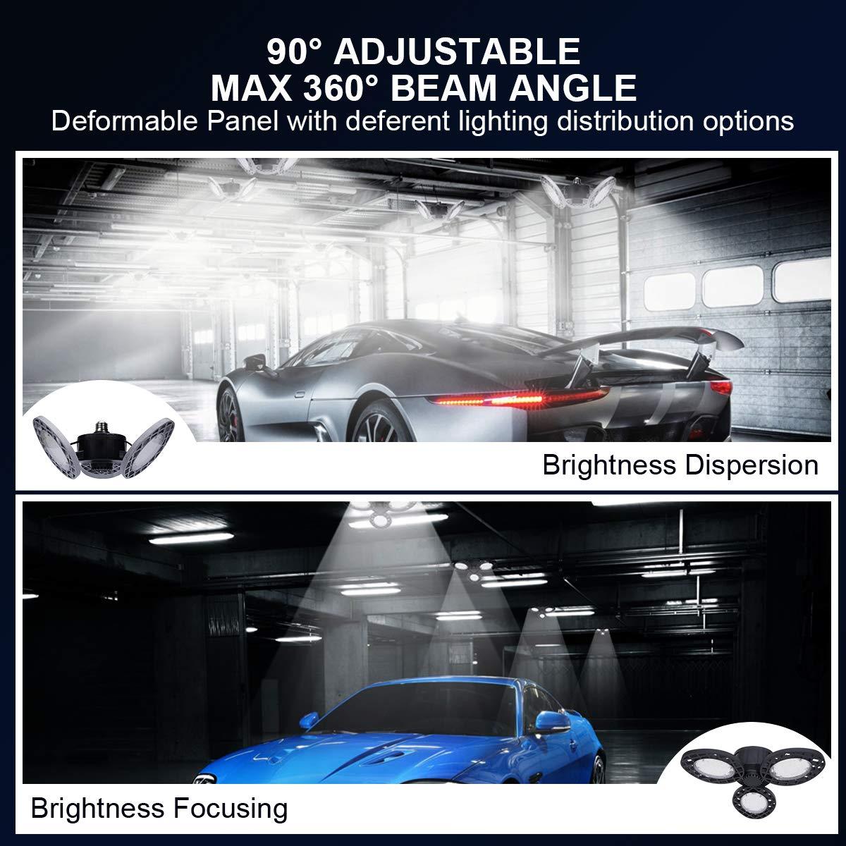 LED Garage Lights Wondesha Garage Lighting,60W Shop Lights for Garage Deformable Garage Work Light with 3 Adjustable Panels,LED Light Bulb for Garage Basement,Workshop,Warehouse(E26,60W,6000lm,Black)