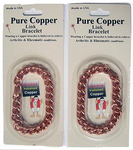 80e53732e1995 Amazon.com: OPEN Deluxe Solid Copper Heavy Mens Chain Link Bracelet ...