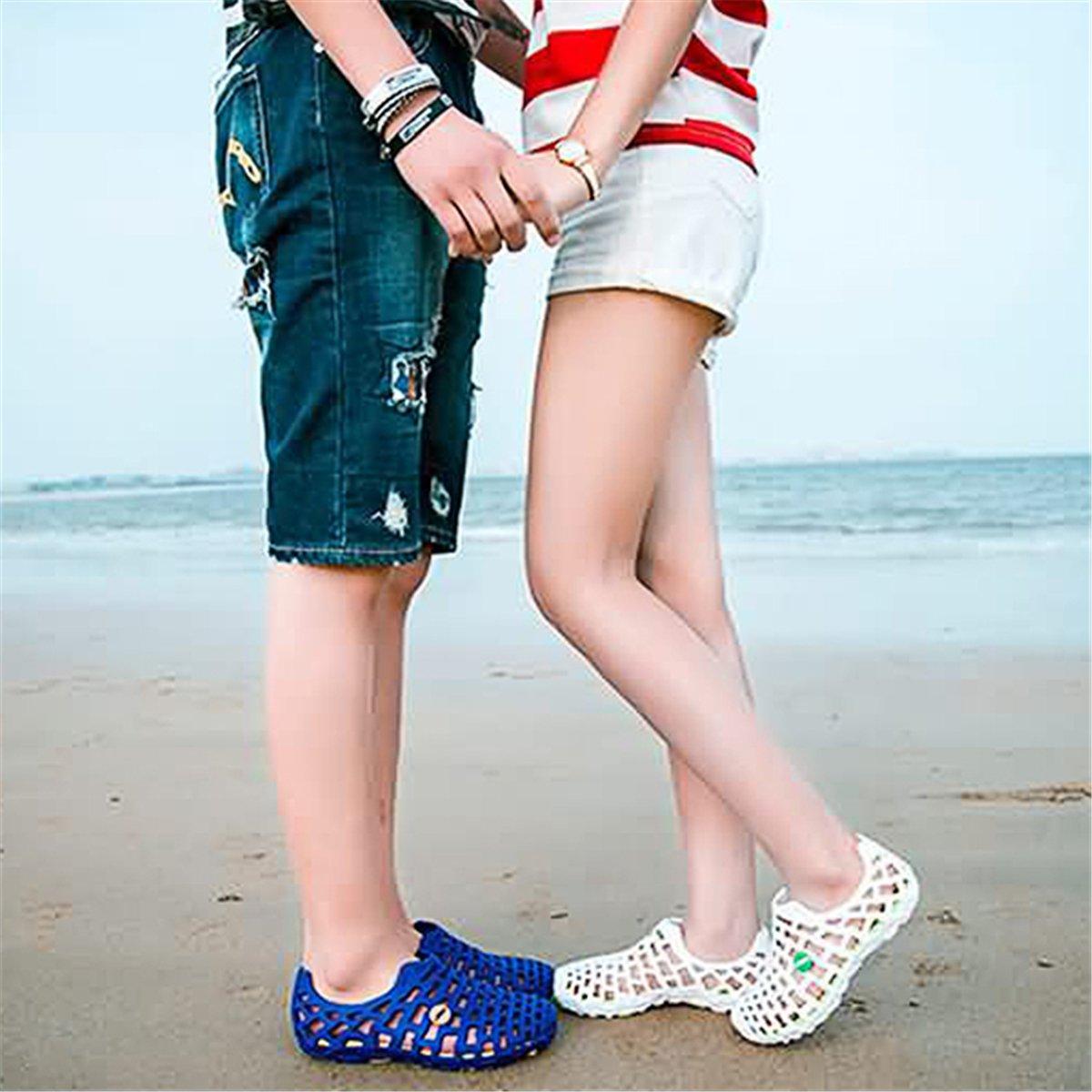 Sandales de Sport Aquatiques en Plastique /à Talons Plats Chaussons Ext/érieur /Ét/é pour Plage Piscine Mer Noir Bleu Gris Rose Souple et R/ésistant Gracosy Chaussures de Plage Homme Femme