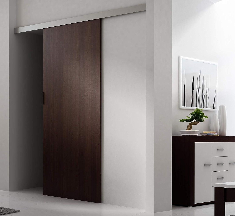 Puerta corredera TES AGAT de 86 cm con separador para puerta interior, Negro: Amazon.es: Bricolaje y herramientas