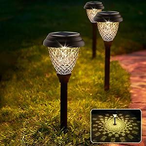 Solar Pathway Lights Outdoor-6 Pack 2 Modes Solar Powered Waterproof Garden Lights for Path, Walkway, Landscape, Patio