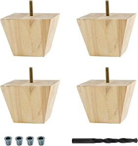 Architectural Products by Outwater BUN34-UN 3 in. x 3-7/8 in. Unfinished Solid Hardwood Square Bun Foot 4 Pack with 4 Free Insert Nuts and Drill Bill