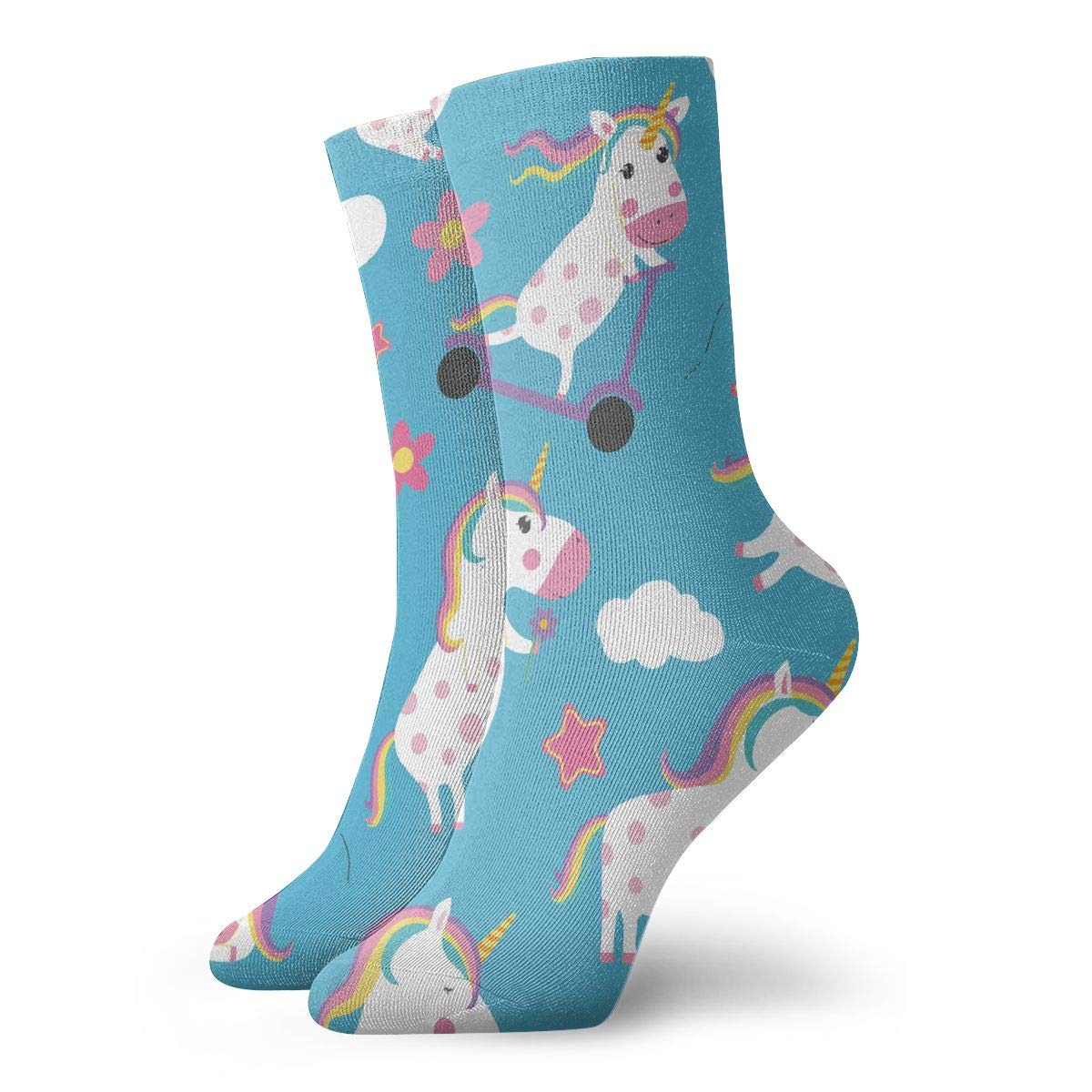 Mens Fashion Performance Polyester Socks Blue Happy Unicorns And Flower Casual Athletic Crew Socks.