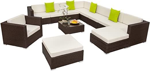 SSITG XXL POLY ratán aluminio asiento Grupo Lounge de muebles muebles de jardín sofá Juego SSITG