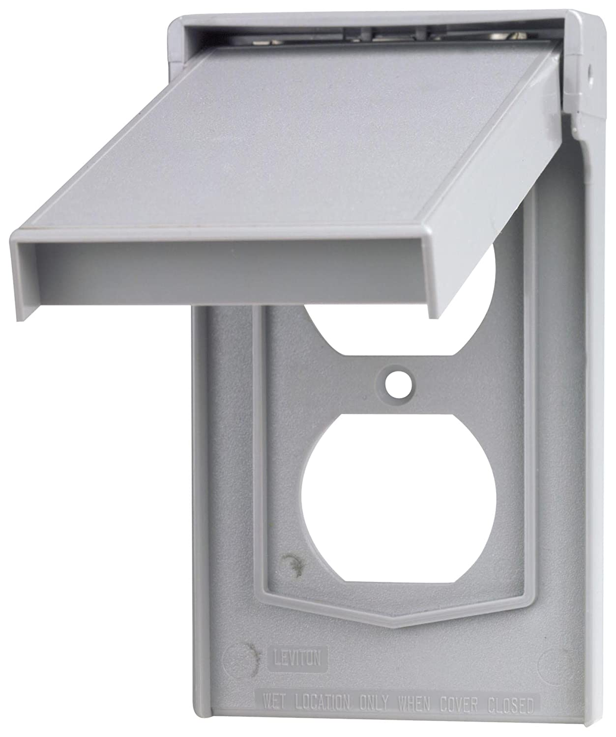 B000HEA7IY Leviton 4978-GY 1-Gang Duplex Device Wallplate Cover, Weather-Resistant, Thermoplastic, Device Mount, Vertical, Gray 712BmYY7HB0L