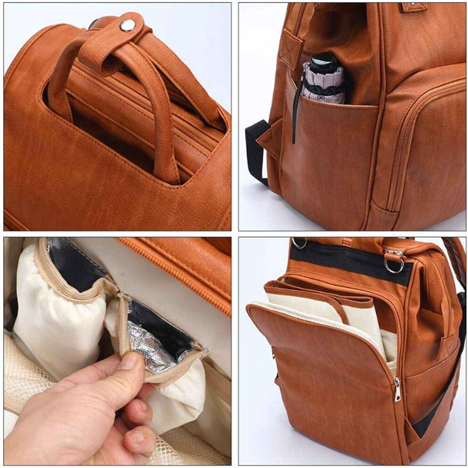 Maternity Newborn Baby Back Pack EZGO Diaper Backpack Stroller Hanger Leather Diaper Bag with Changing Pad