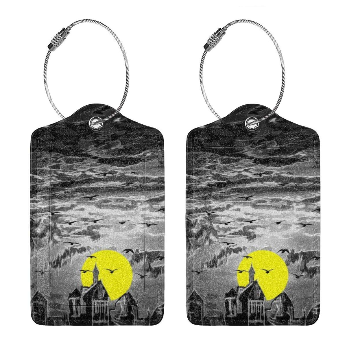 Yellow Moon Luggage Tag Label Travel Bag Label With Privacy Cover Luggage Tag Leather Personalized Suitcase Tag Travel Accessories
