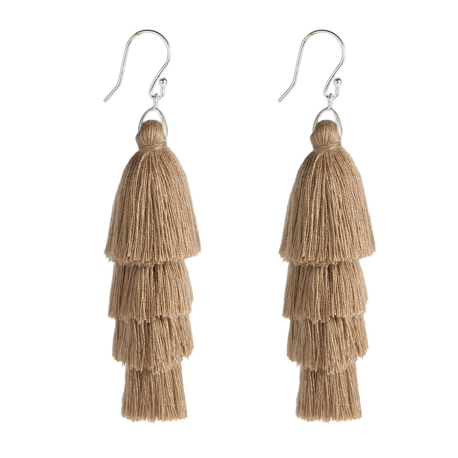 Bonnie 4 Tiered Thread Solid Fringe Layered Tassels Earring for Women Girls (Light Brown)