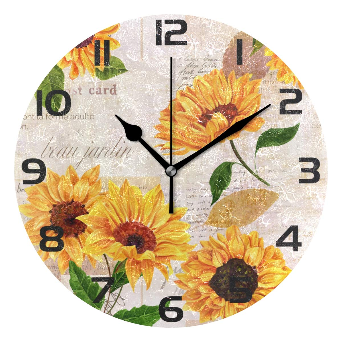 WellLee Vibrant Yellow Sunflower Clock Acrylic Painted Silent Non-Ticking Round Wall Clock Home Art Bedroom Living Dorm Room Decor