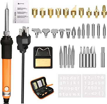 Wood Burning Kit 37Pcs Soldering Iron Set Adjustable Temperature W Pen 15 X Tips