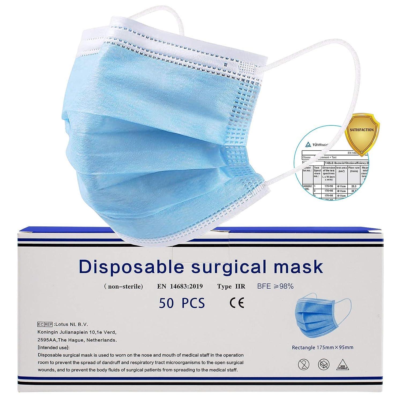 Mascarillas_Médicas Desechables para Adultos – Pack 50 unidades - 3 Capas Transpirables con Elástico para Los Oídos – Bfe 98% filtro - Mascarillas_IIR homologadas CE
