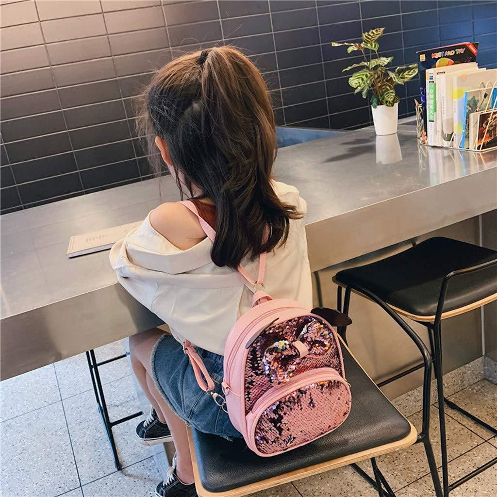 Mochila Escolar de Viaje con Lazo de Lentejuelas tama/ño Talla /única Winkey Mochila Escolar para ni/ñas y ni/ños Color Blanco