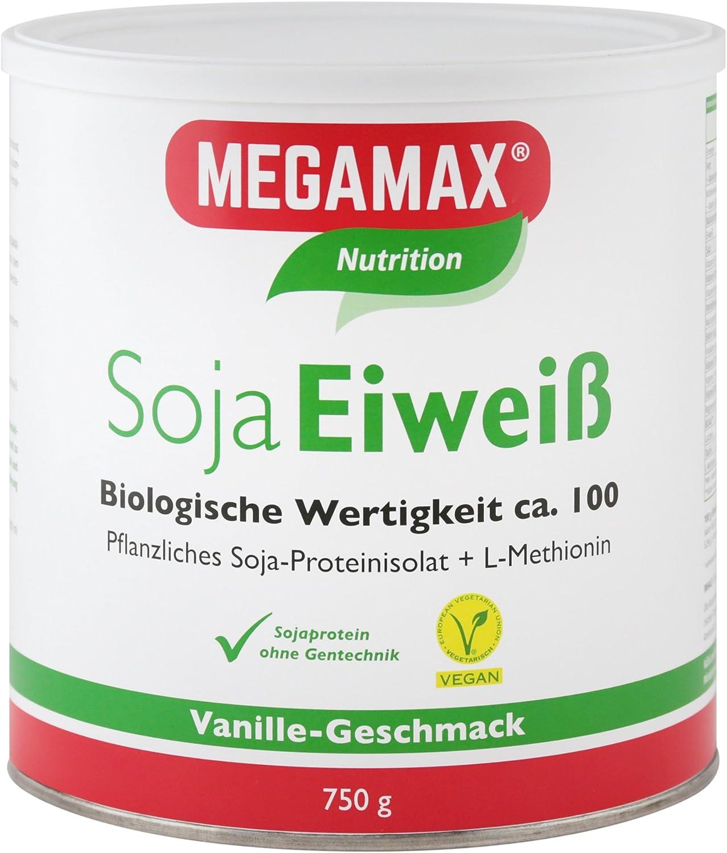 MEGAMAX - Soja Eiweiß - Proteínas de soja - Crecimiento muscular y dieta - Valor biológico aprox. 100 - Vainilla - 750 g