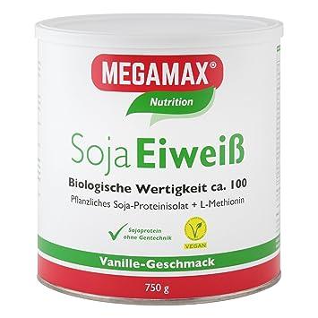 Megamax - Soja Eiweiß - Proteínas de soja - Crecimiento muscular y dieta - Valor biológico aprox. 100 - Vainilla - 750 g: Amazon.es: Deportes y aire libre