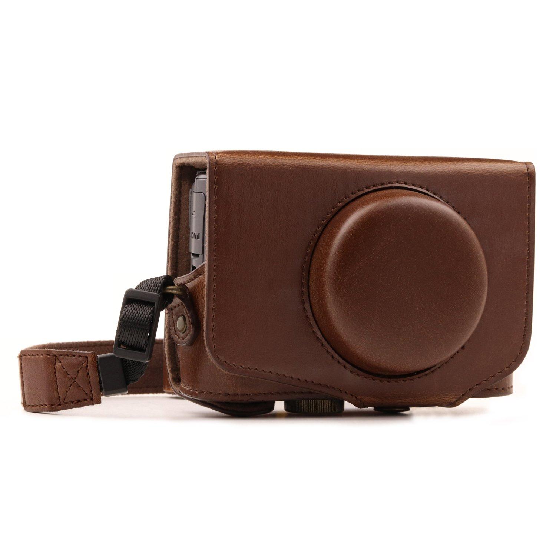 MegaGear Canon PowerShot SX740 HS, SX730 HS Ever Ready(エヴァーレディー) レザー カメラ ケース ストラップ付き  ダークブラウン B06Y63MSZ9