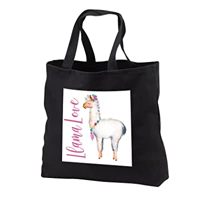 3dRose Anne Marie Baugh - Quotes - Cute Watercolor Llama With The Words Llama Love - Tote Bags