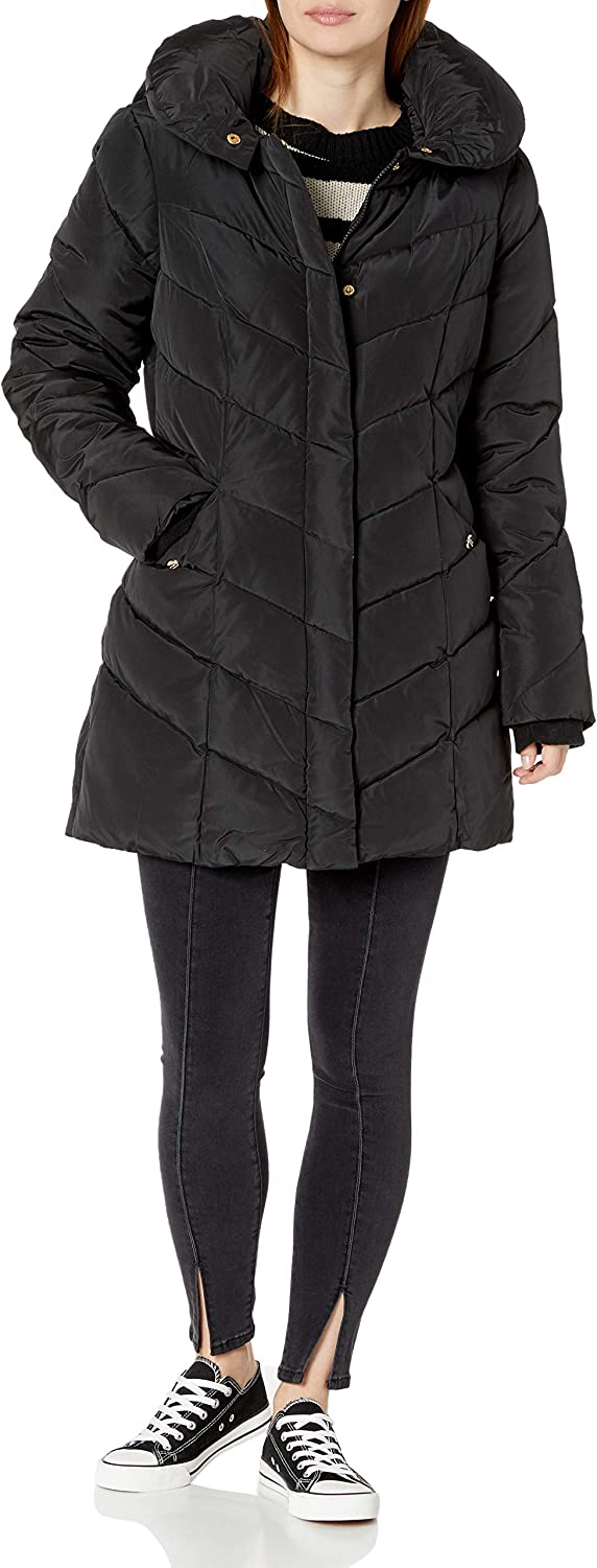 Steve Madden Women's Long Chevron Quilted Outerwear Jacket: Clothing