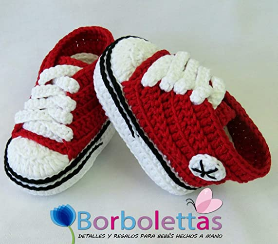 Patucos para Bebé Recién Nacido tipo Converse, 0-3 meses Rojo ...