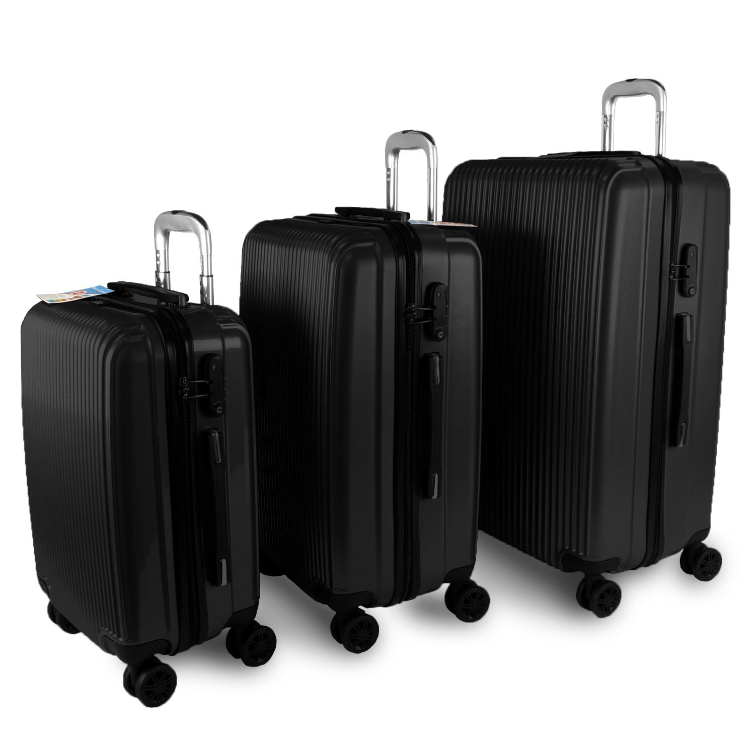 Solid Luggage Set 3 Piece Polycarbonate PC 4 Wheels Rolling Light Weight Spinner Suitcase Bundle TSA Approved Luggage Locks (Black)