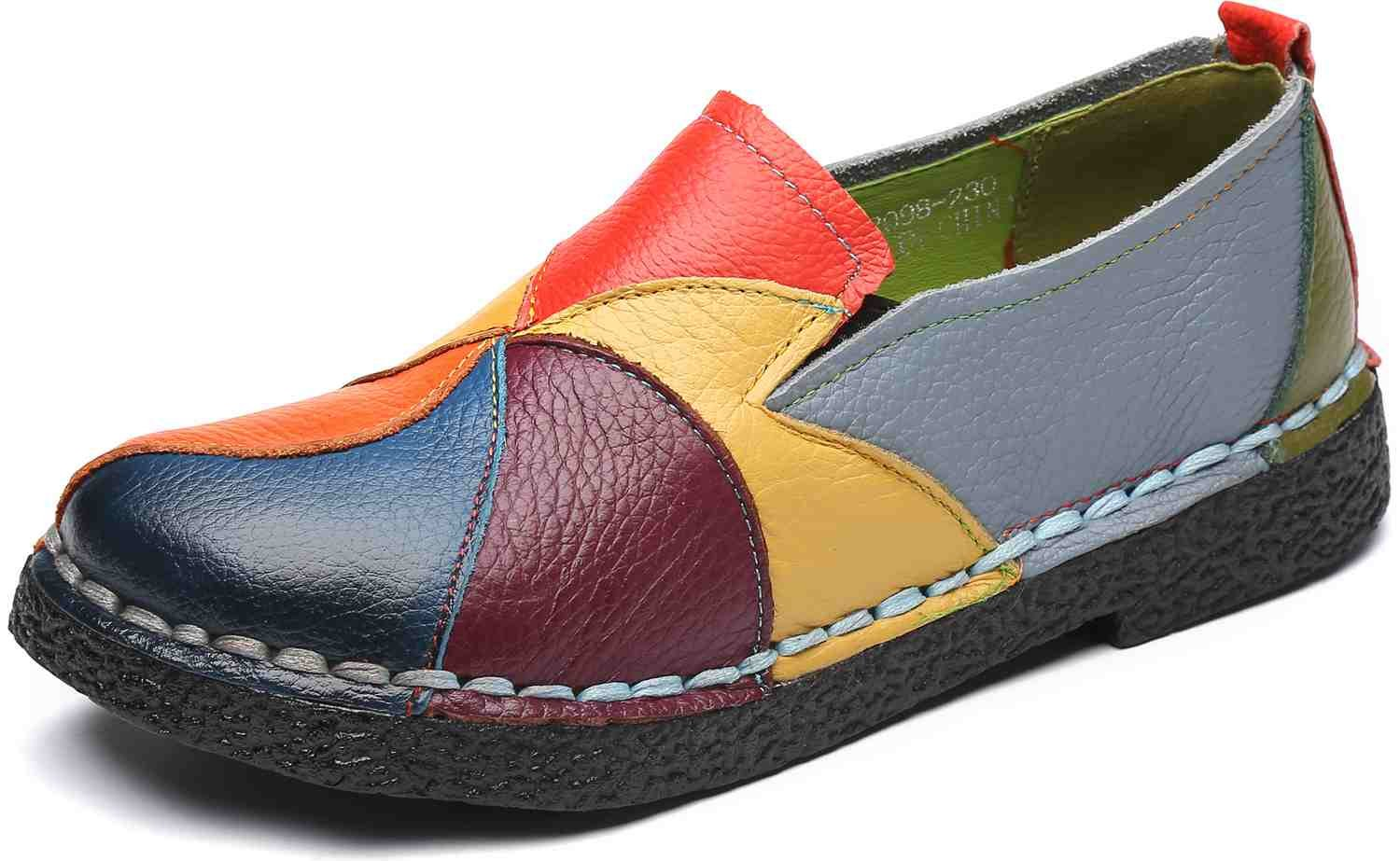 WENKOUBAN Women's Flats Supple Leather Moccasin Ladies Comfy Slip On Loafers 7 Yellow
