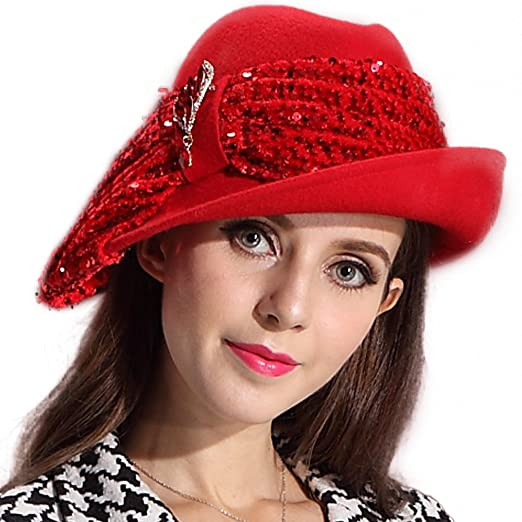 June s Young Fashion Felt Hat Elegant 100% Wool Fedora Women Winter Hat  Sequins (Red 4e994347e7d3