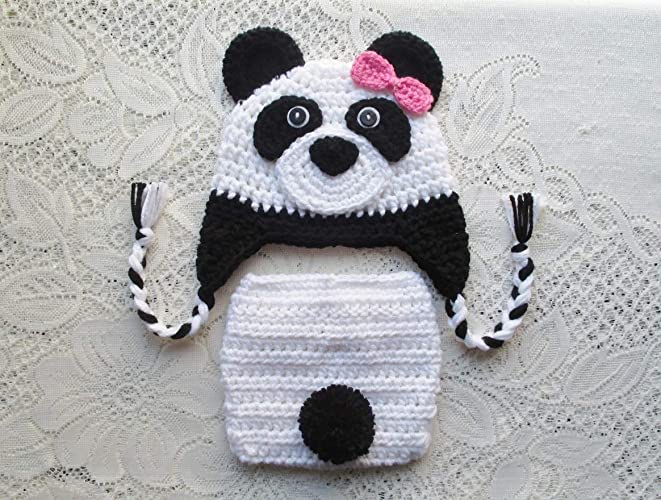 Amazon.com  Baby Panda Bear Crochet Hat and Diaper Cover Set - Photo Prop -  Available in 0 to 24 Months  Handmade 6bd17d892f16