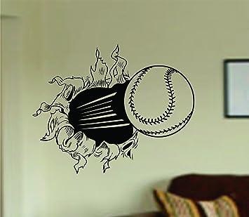 Amazoncom Dabbledown Decals Baseball Bursting Through Wall Vinyl - Vinyl vinyl wall decals baseball