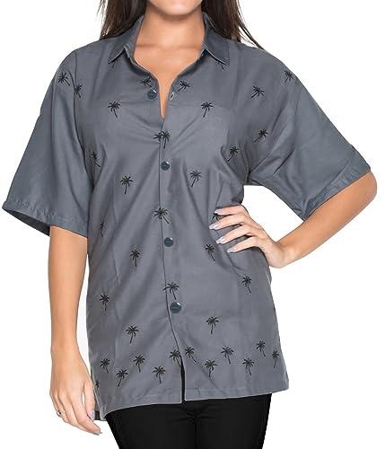 Blusas de la Camisa Hawaiana botón de Ajuste Relajado Mujer Mangas Cortas hasta la Parte Superior de...