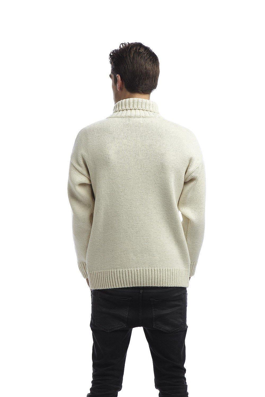 Original Montgomery Mens Zip Neck Submariners Sweater Ecru