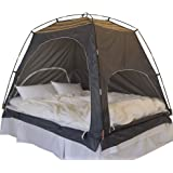 Daverse Floor-less Indoor Privacy Tent on Bed Blackout keep Warm Play Tent (Medium:Double Full Queen bed) (Deep Green)
