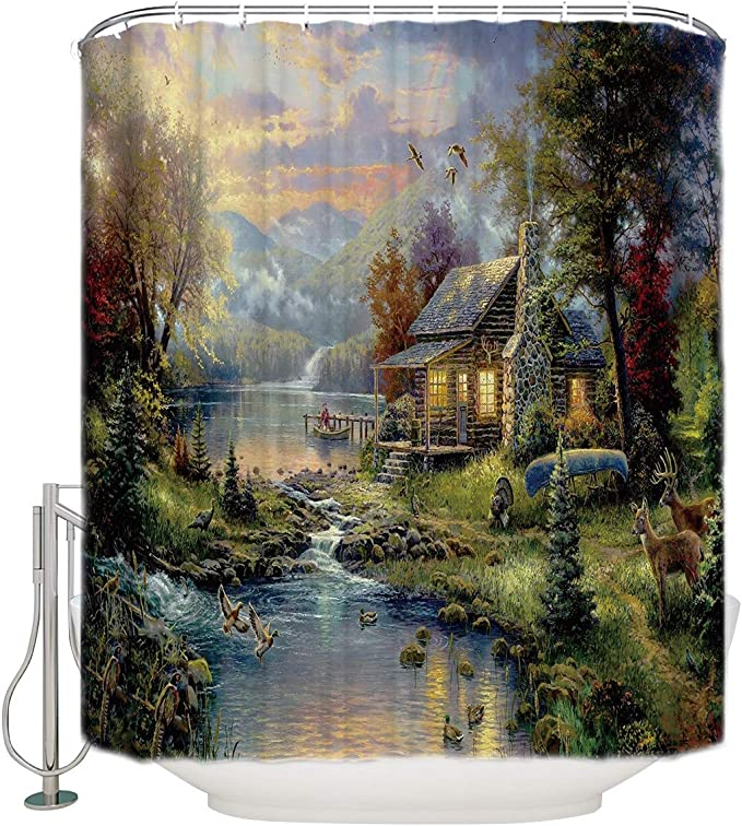 Details about  /Grand Canyon Forest Lake Water Shower Curtains Bathroom Waterproof 12Hooks 71/'/'