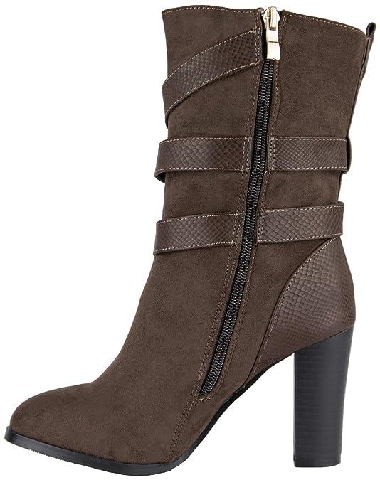 modische Damen Stiefeletten  Stiefel mit Blockabsatz und Schnalle braun 41   Amazon.de  Schuhe   Handtaschen 6ae8ad6616