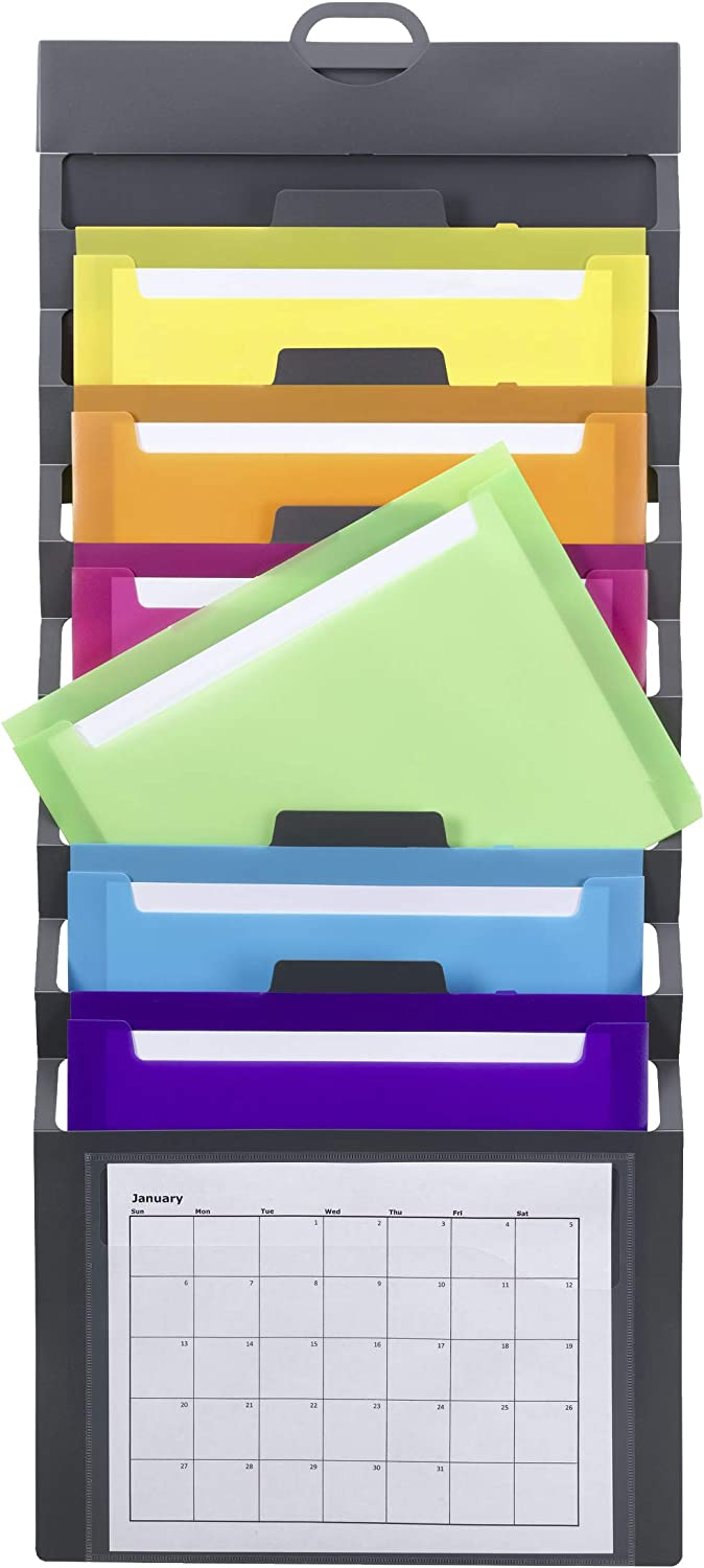 Smead Cascading Wall Organizer, 6 Pockets, Letter Size, Gray/Bright (92060) : Office Products