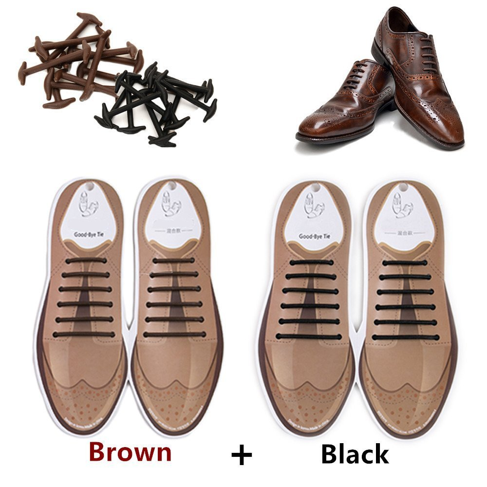 tababy Elastic No Tie Shoelaces,Oxford Shoelaces for Adults and Youth, Waterproof Silicone Shoe Laces for Suede Shoes Leather Shoes Boots Board Shoes and Casual Shoes (Black + Brown)