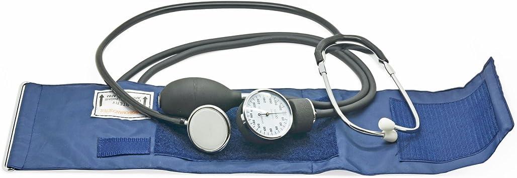 Belmalia Tensiómetro de Brazo Manuales con Estetoscopio Doble Campana, Esfigmomanómetro Aneroide, Bolsa para Servicios de Socorro, Médico, Consultorio, Azul Negro: Amazon.es: Salud y cuidado personal