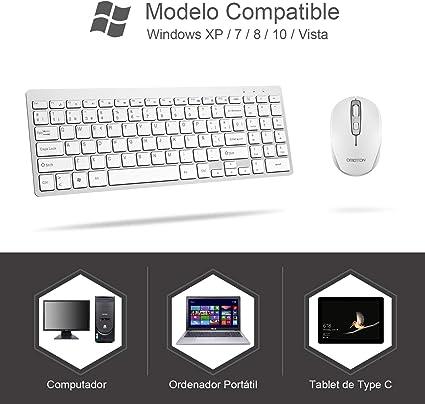 OMOTON Pack de Teclado y Ratón Inalámbrico 2.4Ghz, Teclado Español y Ratón Inlámbrico USB para Windows XP/ 7/8/ 10/ Vista, Color Blanco